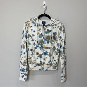Lucky Brand Birds & Bees hooded zip up sweatshirt